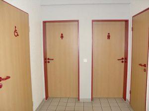 Toilettenbereich in der Bürgerhalle Grieth